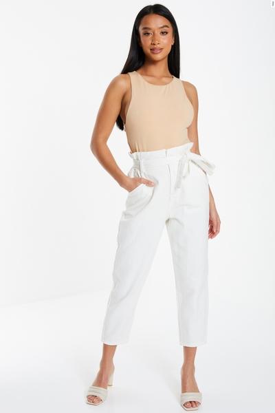 Petite Cream Paper Bag Jeans